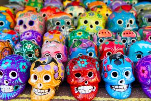Aztec skulls Mexican Day of the Dead colorful handcrafts